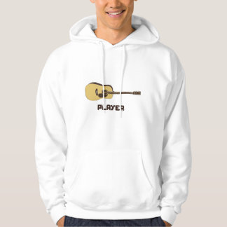 Acoustic Guitar Player  White Hoodie