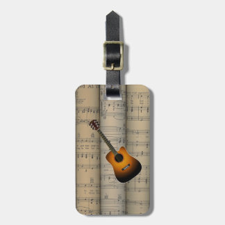 Acoustic Guitar ~ Rolled Sheet Music Background Bag Tag