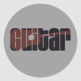Acoustic Guitar Rust Classic Round Sticker