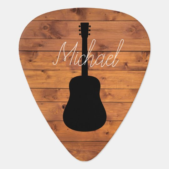 acoustic guitar rustic wood calligraphy name guitar pick. Black Bedroom Furniture Sets. Home Design Ideas