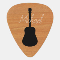 Acoustic Guitar Rustic Wood Script Name Guitar Pick
