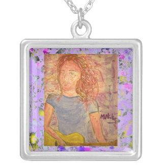 acoustic guitar sand sketch drip square pendant necklace