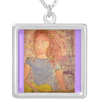 acoustic guitar sand sketch square pendant necklace