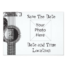 Acoustic Guitar Save The Date Card at Zazzle