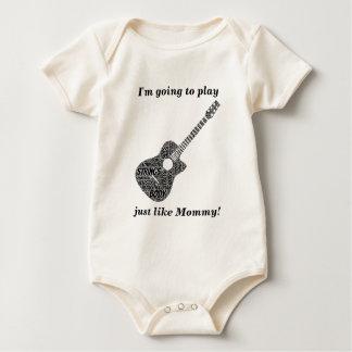 Acoustic Guitar Shaped Word Art Black Text Baby Bodysuit