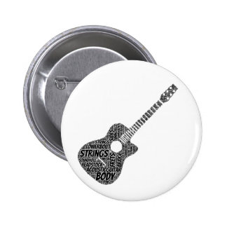 Acoustic Guitar Shaped Word Art Black Text Pinback Button