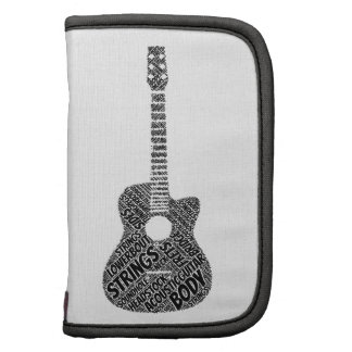 Acoustic Guitar Shaped Word Art Black Text Folio Planners