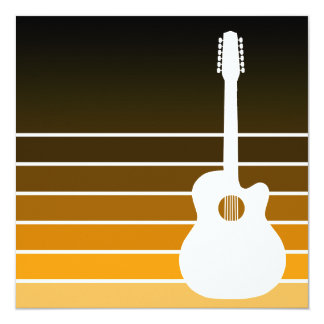 acoustic guitar silhouette : amber fade card