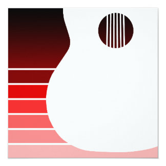 acoustic guitar silhouette : red fade card