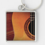 Acoustic Guitar Silver-Colored Square Keychain