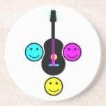 Acoustic Guitar Smiley CMYK Design Coasters