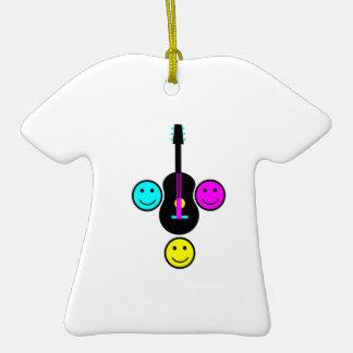 Acoustic Guitar Smiley CMYK Design Christmas Tree Ornament