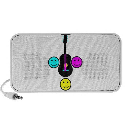 Acoustic Guitar Smiley CMYK Design Mp3 Speakers