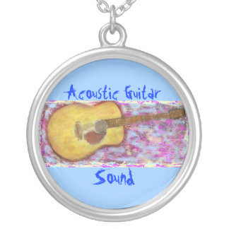 Acoustic Guitar Sound Silver Plated Necklace