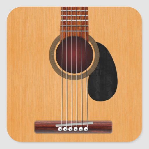 Acoustic Guitar Square Sticker