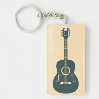 Acoustic guitar stylish retro music keychain