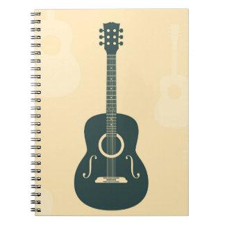 Acoustic guitar stylish retro music notebook