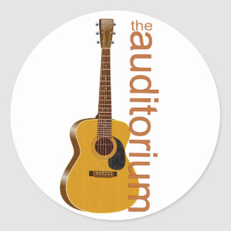 """Acoustic Guitar """"The Auditorium Classic Round Sticker"""