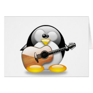 Acoustic Guitar Tux (Linux Tux) Greeting Cards