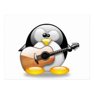 Acoustic Guitar Tux (Linux Tux) Postcard