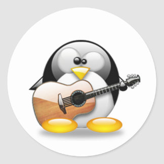 Acoustic Guitar Tux (Linux Tux) Round Sticker