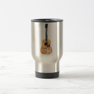 Acoustic Guitar vertical distressed 15 Oz Stainless Steel Travel Mug