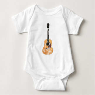 Acoustic Guitar vertical distressed Baby Bodysuit