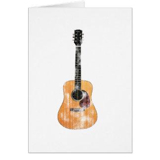 Acoustic Guitar vertical distressed Greeting Card