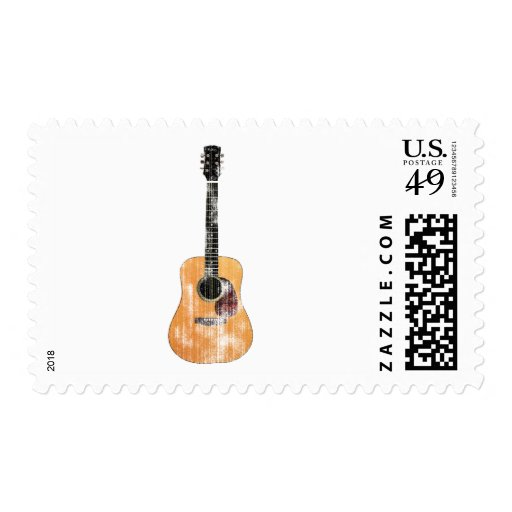 Acoustic Guitar vertical distressed Postage Stamp