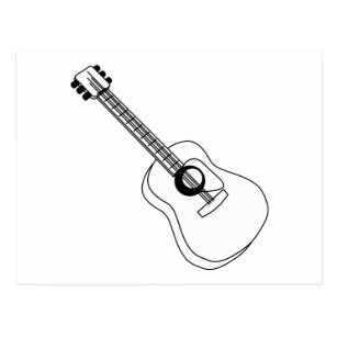 guitar outline postcards zazzle Silent Electric String Bass acoustic guitar white outline guitar graphic postcard