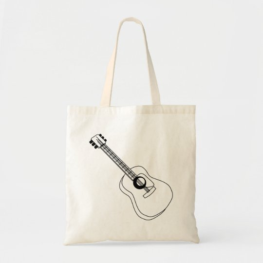 Acoustic Guitar White Outline Guitar Graphic Tote Bag