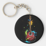 Acoustic guitar with paint splatters basic round button keychain