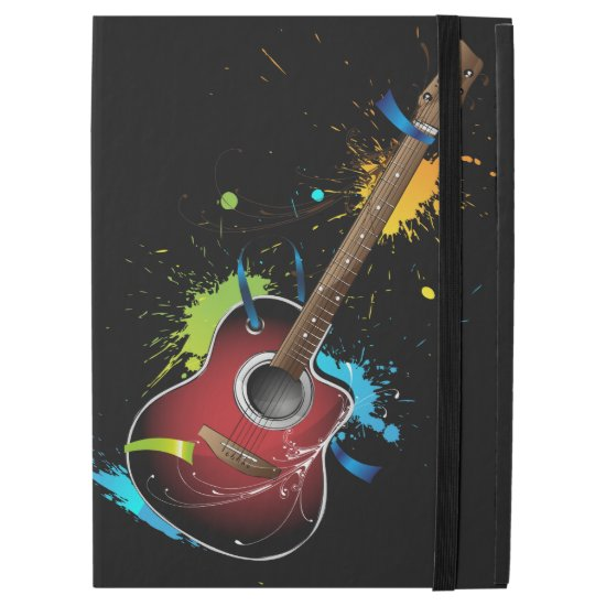 "Acoustic guitar with paint splatters iPad pro 12.9"" case"
