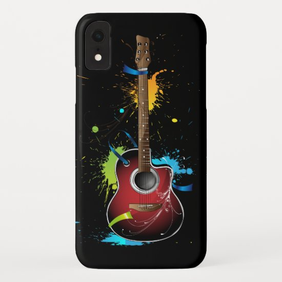 Acoustic guitar with paint splatters iPhone XR case