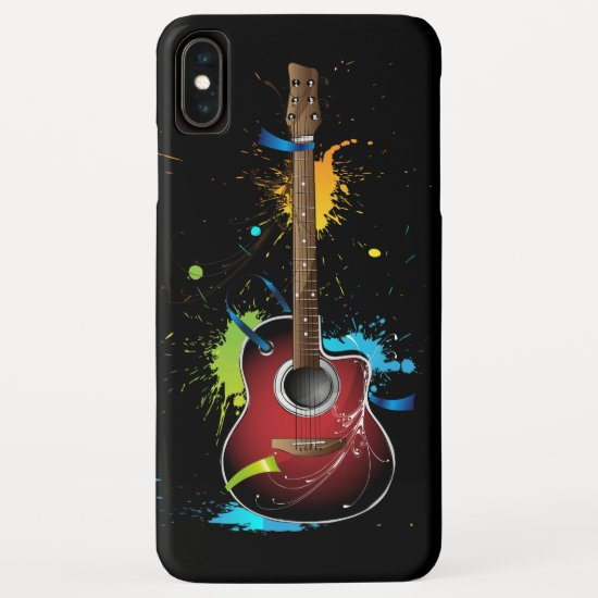 Acoustic Guitar with Paint Splatters iPhone XS Max Case