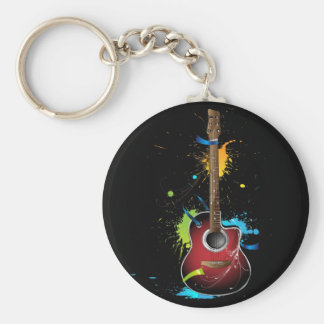 Acoustic guitar with paint splatters keychain