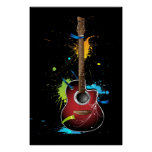 Acoustic guitar with paint splatters poster