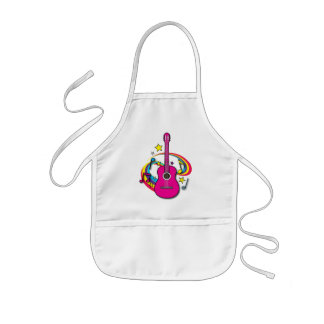 Acoustic Guitar with Rainbow Kids' Apron