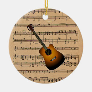 Acoustic Guitar With Sheet Music Background Ceramic Ornament