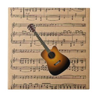 Acoustic Guitar With Sheet Music Background Ceramic Tile