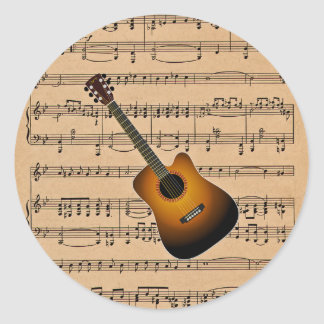 Acoustic Guitar With Sheet Music Background Classic Round Sticker