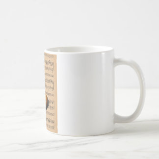 Acoustic Guitar With Sheet Music Background Coffee Mug