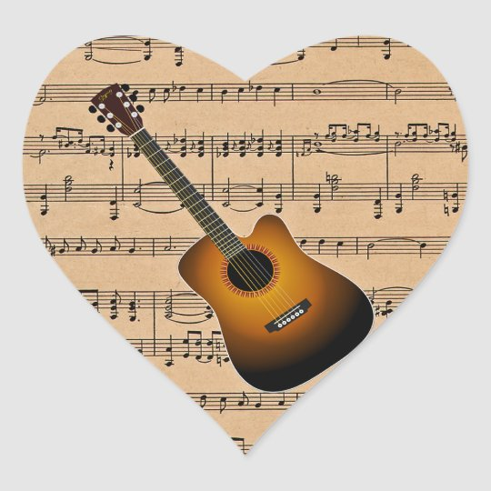 Acoustic Guitar With Sheet Music Background Heart Sticker
