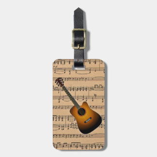 Acoustic Guitar With Sheet Music Background Luggage Tag