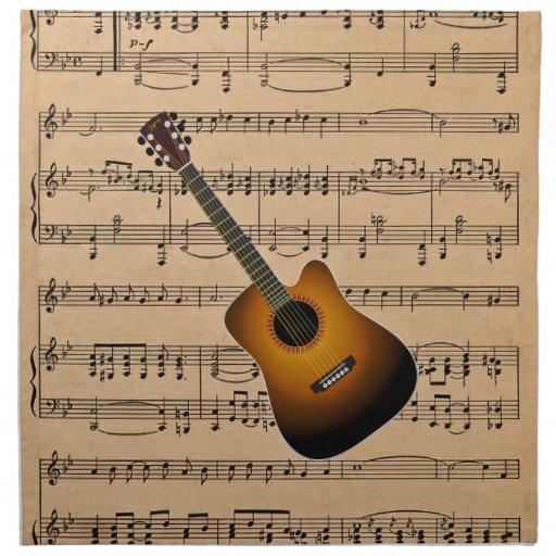 Acoustic Guitar With Sheet Music Background Printed Napkin
