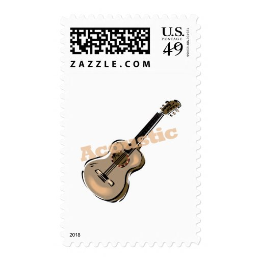 acoustic guitar with text stamps