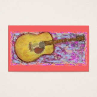 acoustic guitar with yellow patina Art Business Card