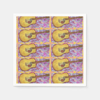 acoustic guitar with yellow patina Art Napkin