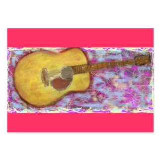 acoustic guitar with yellow patina large business cards (Pack of 100)