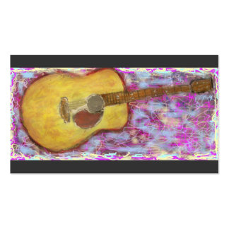 acoustic guitar with yellow patina business card